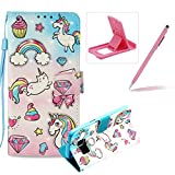 Rope Leather Case for Samsung Galaxy S7,Wallet Leather Case for Samsung Galaxy S7,Herzzer Stylish Luxury 3D Special Effects [Rainbow Pony Pattern] Bookstyle Premium Smart Magnetic Full Body Soft Rubber Flip Stand Case with Card Holder Slots