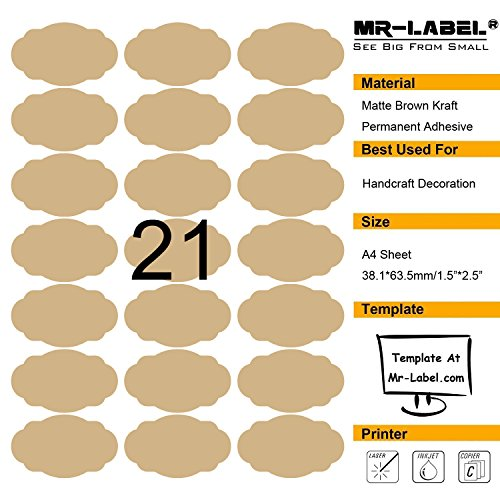MR-LABEL Brown Scallop Oval Kraft Labels -Self Adhesive Stickers for Gift Decoration|Hand Craft| Finishing Touch (25sheets/Totally 525pcs Labels) (10 sheets/210 Labels)