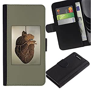 Be-Star la tarjeta de Crédito Slots PU Funda de cuero Monedero caso cubierta de piel Sony Xperia Z3 Compact ( Heart Anatomy Human Drawing Art Painting )