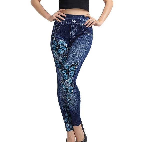Pantalones Vaquero Imitación Cintura Alta Mujer Pantalones ...
