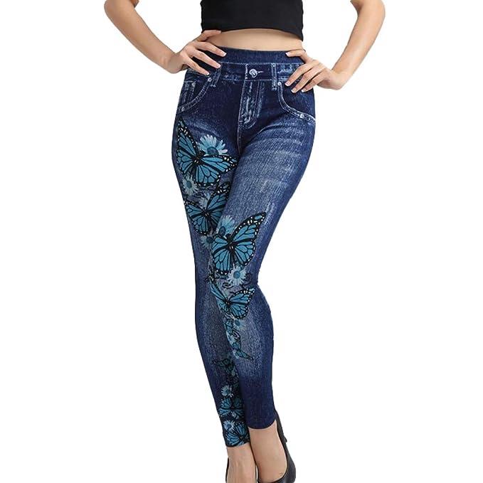 651c5b59914d2 Pantalones Vaquero Imitación Cintura Alta Mujer Pantalones Pies Pequeños  Estampado Flores Loto Mujer Pantalones Largos Azules Negros Atractivos Moda  S-3XL  ...