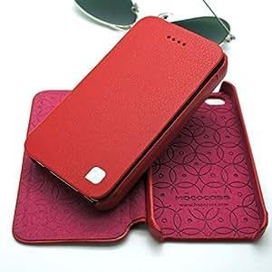 Hoco - Funda tipo cartera de piel ajustada para Apple iPhone 4 4S Modelo 'Duke' - Rojo