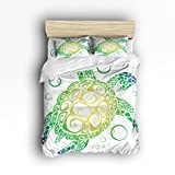 4 Pieces Home Comforter Bedding Set, Green Sea Turtle Design Surprised Gift Twin Size