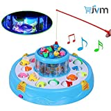 Fish Catching Electric Rotating Magnetic Fishing Game with 26 Pcs Of Fish, 2 Rotary Fishing Pond & 4 Pods Includes Music and Lights Function (Assorted Color)