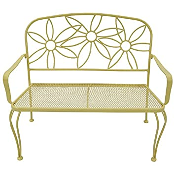 Superieur Garden Treasures Yellow Daisy Bench   Powder Coated Steel Frame 36u0026quot; L  X 42.5u0026quot;