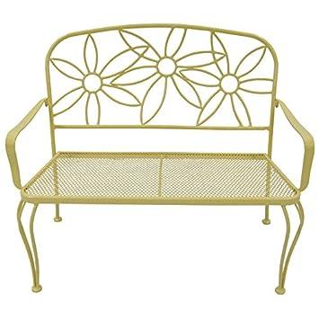 Genial Garden Treasures Yellow Daisy Bench   Powder Coated Steel Frame 36u0026quot; L  X 42.5u0026quot;