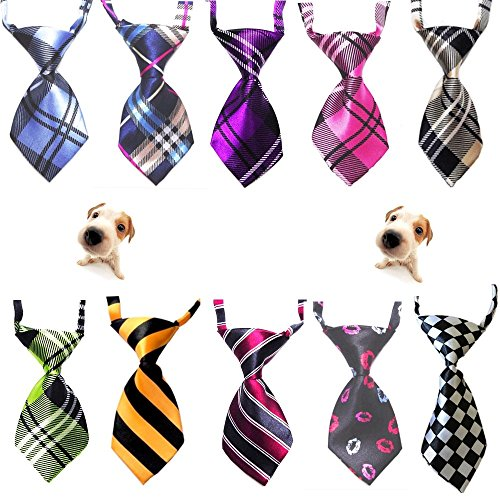 Lebbeen 10pcs/Pack,Cute Handsome Adjustable Pet Teddy Cat Dog Bow Ties Necktie (Silly Ties Neck)