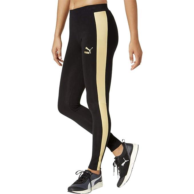 734600f9ce6cc2 PUMA Womens T7 Metallic Legging, Black/Gold Metal ... puma metallic