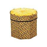 Porlik Folding Storage Organizer Ottoman Stool, Cute 3D Creative Fruit Velvet Storage Box,Pineapple Stool
