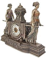 Design Toscano Versailles Maidens Mantel Clock Statue, 37 cm, Polyresin, Bronze Finish