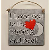 Hanging Wooden Plaque I Love You To The Moon and Back Present for Girlfriend, Wife, Boyfriend, Husband, Romantic Gift by HmHome