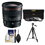 Canon EF 24mm f/1.4L II USM Lens with 3 (UV/ND8/CPL) Filters + Tripod + Cleaning Kit for EOS 6D, 70D, 5D Mark II III, Rebel T3, T3i, T4i, T5, T5i, SL1 DSLR Cameras