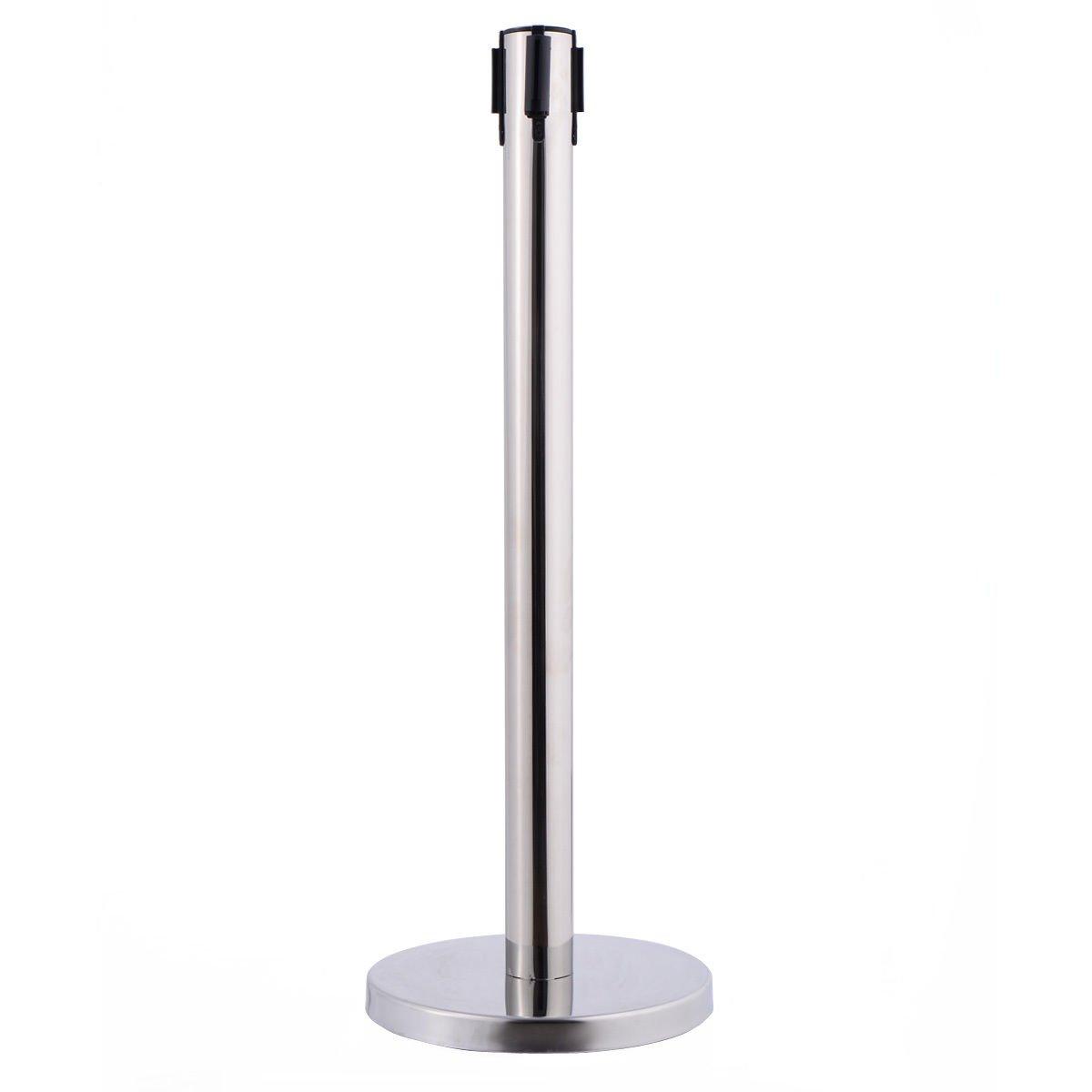 6 Pcs. Belt Retractable Crowd Control Stanchion Barrier Posts Queue Pole, Red by Alek...Shop (Image #5)