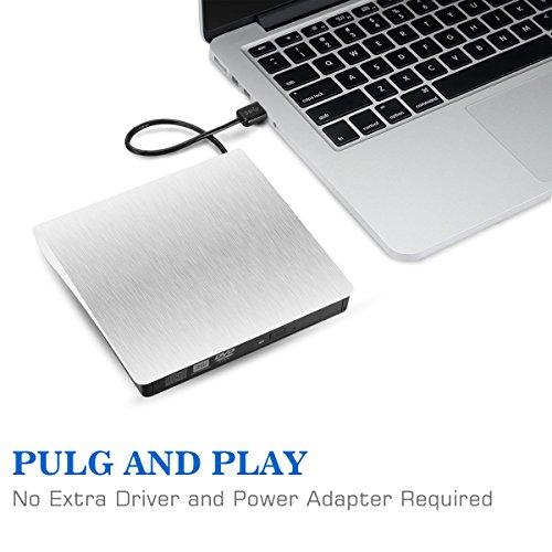 External DVD Drive for Laptop, Sibaok Portable USB 3.0 DVD-RW Player CD Drive, Optical Burner Writer Rewriter for Mac Computer Notebook Desktop PC Windows 7/8/10, Slim White by Sibaok (Image #5)