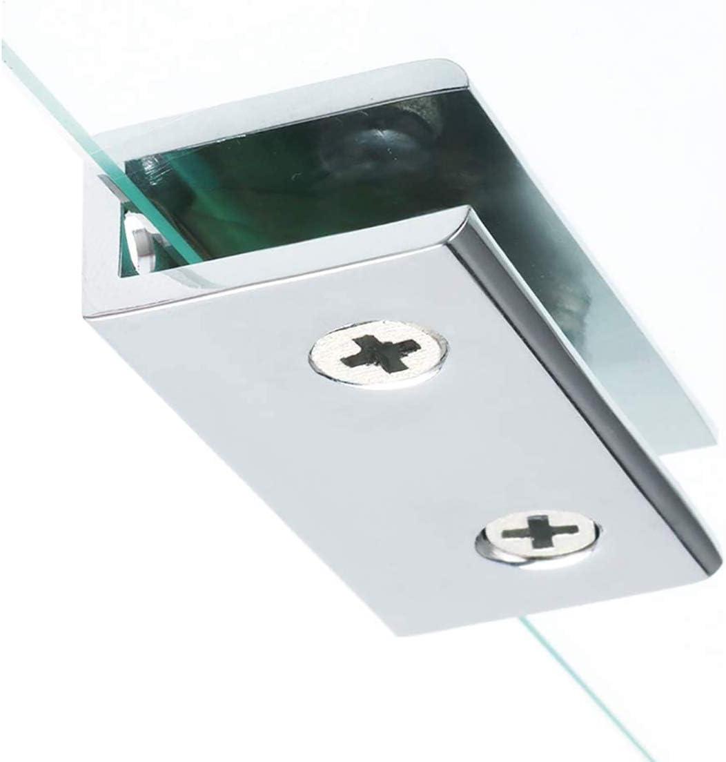 Abrazaderas de Vidrio 4 Piezas 8-12mm Acero Inoxidable Abrazaderas de Cristal 304 Soporte de Vidrio Ajustable Parte Trasera Plana para Escalera Barandilla Ba/ño