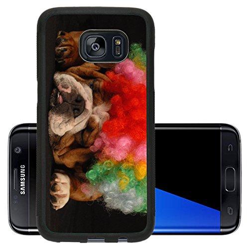 [Liili Premium Samsung Galaxy S7 Edge Aluminum Backplate Bumper Snap Case IMAGE ID: 4184274 english bulldog dressed up with clown wig on black] (Comical Halloween Costumes)