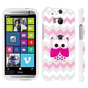 DuroCase ? HTC One M8 Hard Case White - (Cute Owl Pink)
