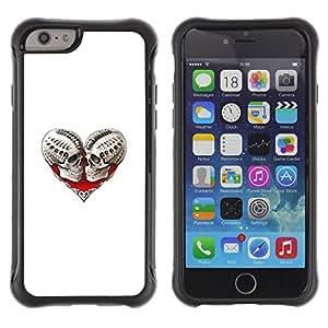 Be-Star único patrón Impacto Shock - Absorción y Anti-Arañazos Funda Carcasa Case Bumper Para Apple iPhone 6 Plus(5.5 inches)( Skull Death Heart White Biker Love )
