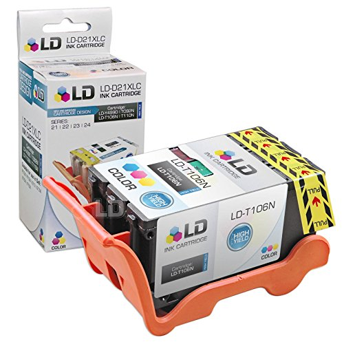 LD Compatible Set of 3 (Series 23) High Yield Black & Color Ink Cartridges for the Dell V515w Printer: 2 Black T105N, 1 Color T106N Photo #4