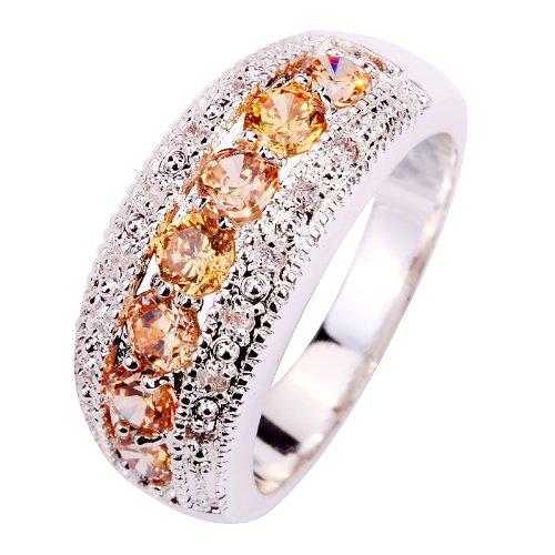 Yazilind Women's Ring with Round Cut Pink Morganite White Topaz Gemstone...