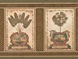 Vintage Squares Palm Trees Bronze Light Brown Wallpaper Border Retro Design, Roll 15' x 9''