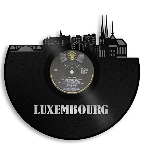 VinylShopUS - Luxemburg Vinyl Wall Art City Skyline Cityscape Record | Europe Travel Memories Gift for Idea | Decoration Home Office Decor