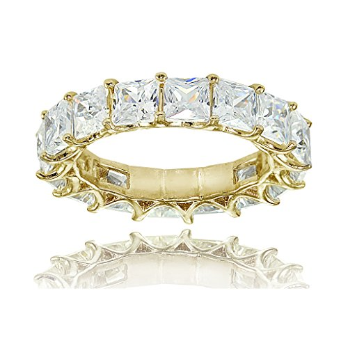 Yellow Gold Flashed Sterling Silver Cubic Zirconia 4mm Princess-cut Eternity Band Ring