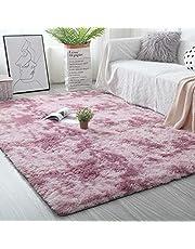 kinganda Area Rugs Clearance, Soft Fluffy Large Shaggy Rug, Washable Non-Slip Furry Rugs, Comfy Nursery Carpet for Bedroom Livingroom Dorm Kids Room Indoor Home Decorative, 3'9''x6'6'' Purple White Rug