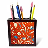 3dRose ph_22146_1 Country Floral Tile Pen Holder, 5-Inch