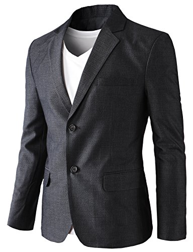 H2H Men's Casual Double-Breasted Jacket Slim Fit Blazer Charcoal US XL/Asia 3XK (KMOBL0125) by H2H (Image #2)