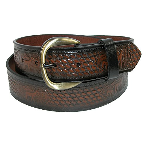 Basketweave Embossed Belt (Hickory Creek Men's Leather Deer Embossed Basketweave Belt, 32,)