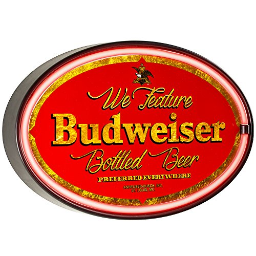 - We Feature Budweiser Beer  - Reproduction Vintage Advertising Oval Sign - Battery Powered LED Neon Style Light - 16 x 11 x 2 Inches