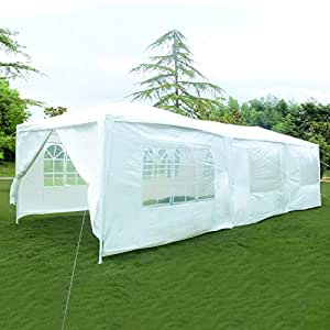 SUNCOO Canopy Outdoor Party Gazebo Tent Heavy Duty Family Event Wedding Tent White 10x30 ,3 Room 8 Sidewalls