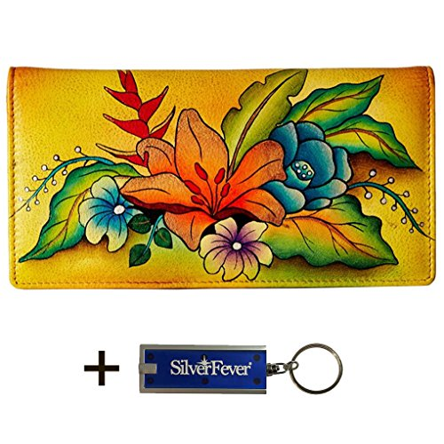 Anna by Anuschka Ladies Wallet & Key Chain (2 Fold 3 ID Tropical Bouquet Yellow)