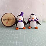 Custom Penguin wedding cake toppers, Bride and groom figurines,Handmade, Fully customizable. Unique keepsake