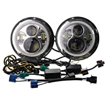 "War-horse®7"" Round CREE LED Headlights with Halo Ring Hi/Lo Beam for Jeep Wrangler Harley-Davison Pair"