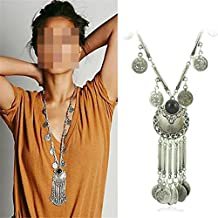 Lanue Gypsy Ethnic Tribal Turkish Boho Coin Chain Necklace Long Tassel Statement & Pendants Necklace Bohemian Maxi Jewelry