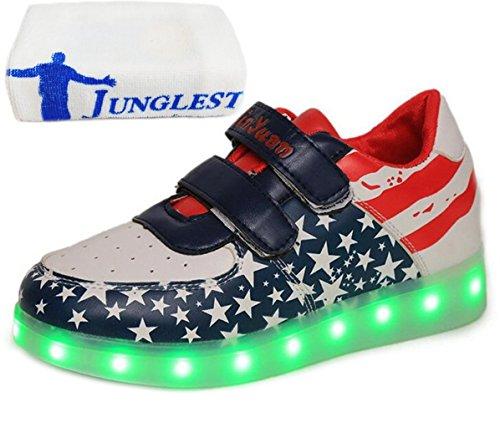 (Present:kleines Handtuch)JUNGLEST® Unisex Junge Mädchen Colorful Farbe LED Leuchtend Aufladen USB Kinderschuhe Paare Schuhe Herbst und Winter Sport schuhe Frei Blau