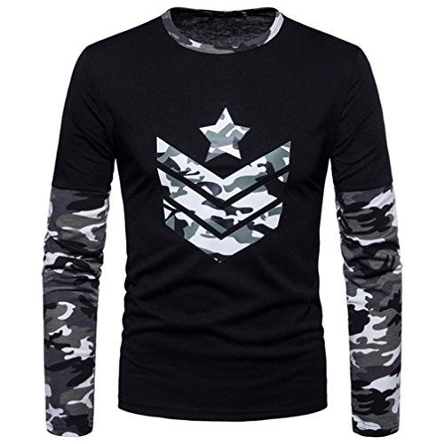 iLXHD Men's Autumn Camouflage Print Joint Long Sleeved Sweatshirts Top Blouse(XL,Gray)