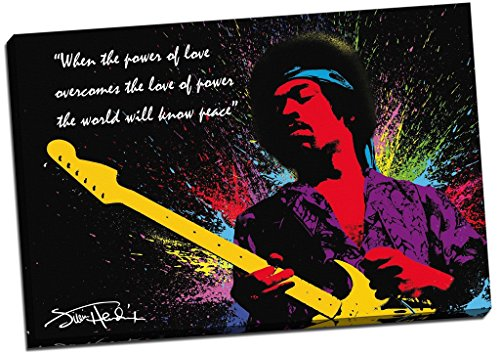 Panther Print Jimi Hendrix Quote Colour Splash Canvas Print Picture Wall Art Large 30X20 Inches Black, Yellow, Pink, Purple, Red, Green Blue