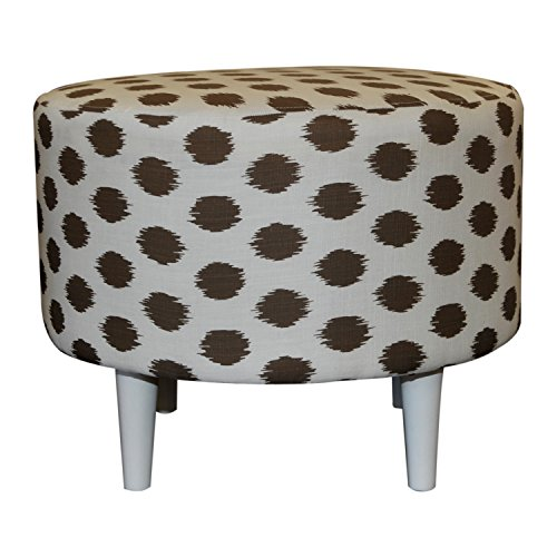 Sole Designs Sophia Collection Round Upholstered Ottoman with Espresso Leg Finish, JoJo Series, Brown (Sophia Sofa Fabric Collection)