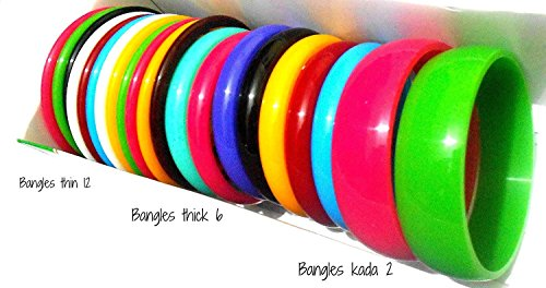 GOELX Plastic Colourful Bangles Combo Thin & Thick Bangles Set Size 2.6 - Thick Plastic Bracelet