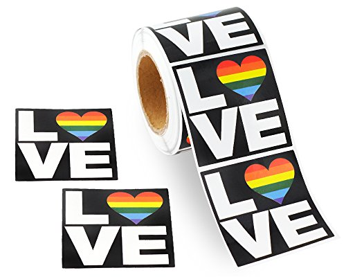 250 Square Love Gay Pride Rainbow Stickers on a Roll - Square Love (250 Stickers) - Support LGBTQ Causes
