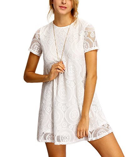 - Jollymoda Women's Plain Short Sleeve Floral Summer Floral Lace Prom Party Shift Dress (White, M)