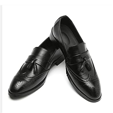 b24277a15 Big Size 37-48 Men Leather Loafers Brand Shoes Classic Tassel Brogue Mans  Footwear Black