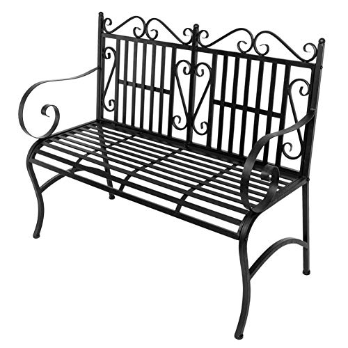 Outdoor Double Seat, Foldable Metal Antique Garden Bench, Folding Outdoor Patio Chair, Decorative Outdoor Garden Seating, Park Yard Bench with Decorative Cast Iron Backrest by CargoTi (Image #5)