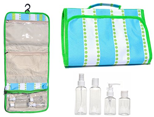 [Large Green Blue Hanging Travel Makeup Toiletries Cosmetic Bag Case Organizer with 4 Pack Travel Size Bottle Set Gift Idea Teen Girls Women Mom] (Last Minute Costume Ideas College)