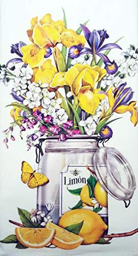 Mary Lake Thompson Lemon Spring Iris Jar 100% Cotton Flour Sack Dish Tea Towel 30