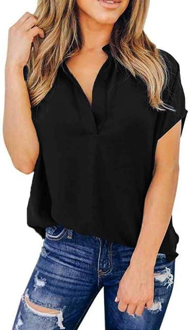 Camiseta Mujer Manga Corta Moda con Estampado para Mujer Cuello Alto Tama/ñO Extra Grande
