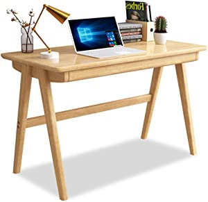 Desk Solid Wood Office Table with Drawer, Heavy Duty Office Desk Writing Study Desk Durable for Home Pc Laptop-a1 140x60cm/55x23.6in